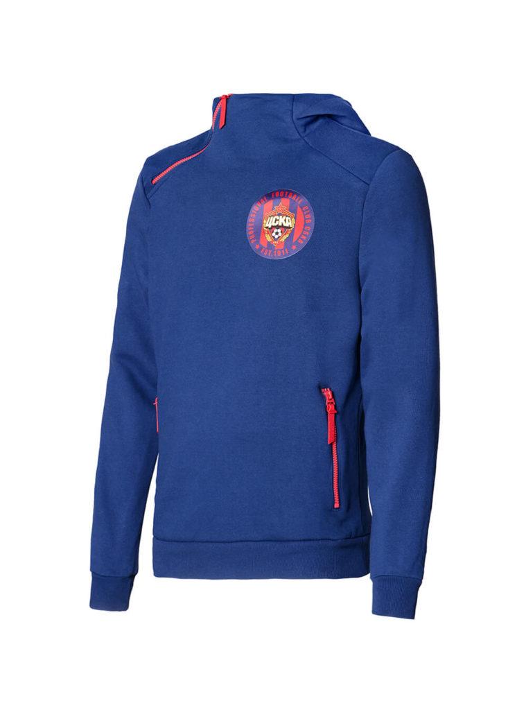 Купить Толстовка на молнии с капюшоном PFC CSKA est 1911, цвет синий (XL) по Нижнему Новгороду