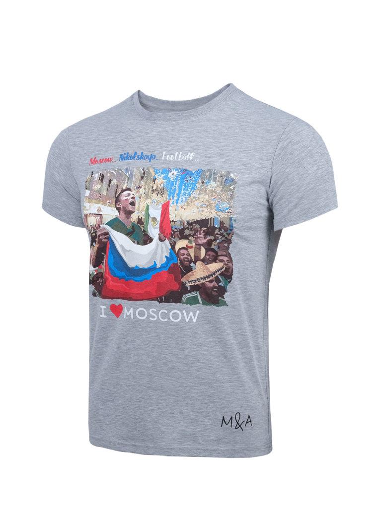 Купить Футболка «Москва…Никольская…Футбол…», цвет серый (L) по Нижнему Новгороду