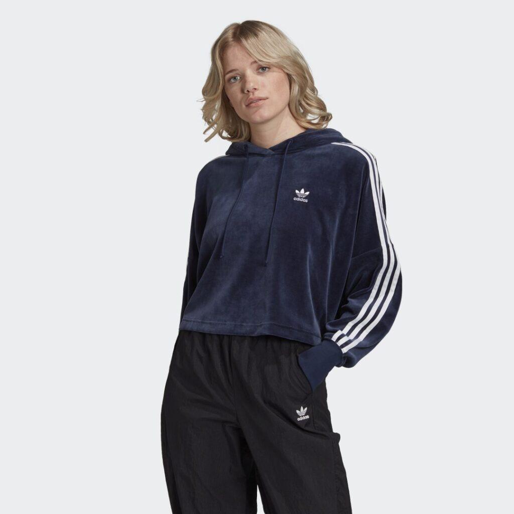 Купить Укороченная велюровая худи adidas Originals по Нижнему Новгороду