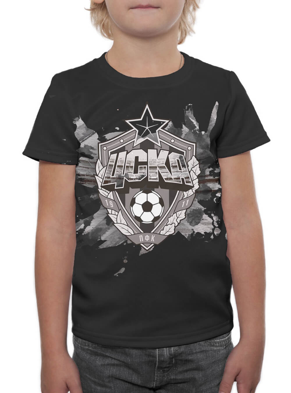 Купить Футболка детская «Эмблема», цвет чёрный (122) по Нижнему Новгороду